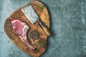 Dry aged uncooked beef rib eye steak