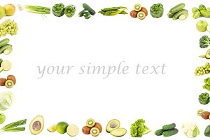 Rectangular frame made from different green fruits and vegetables