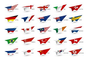 Vector paper plane with country flag