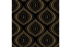 Seamless vector abstract pattern for textile and decoration with gold glitter effect