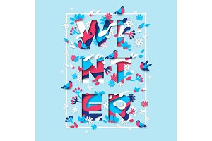 Winter typography design with square frame