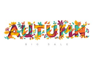 Autumn typography design with papercut shapes