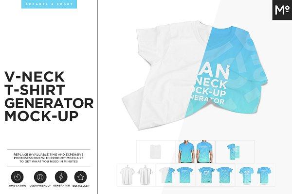 V-neck T-shirt Generator Mock-up