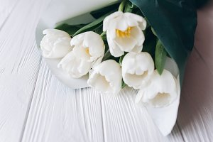 Mother's Day .white tulips