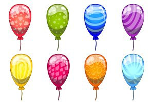 Сute cartoon vector balloons set
