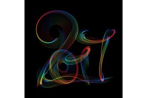Happy new year 2017 isolated numbers lettering written with rainbow colorful fire flame or smoke on black background