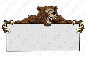 Bear Sports Mascot Sign