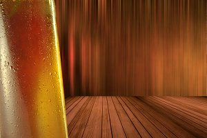 Cold beer with wooden