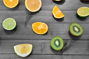 oranges, limes and kiwis