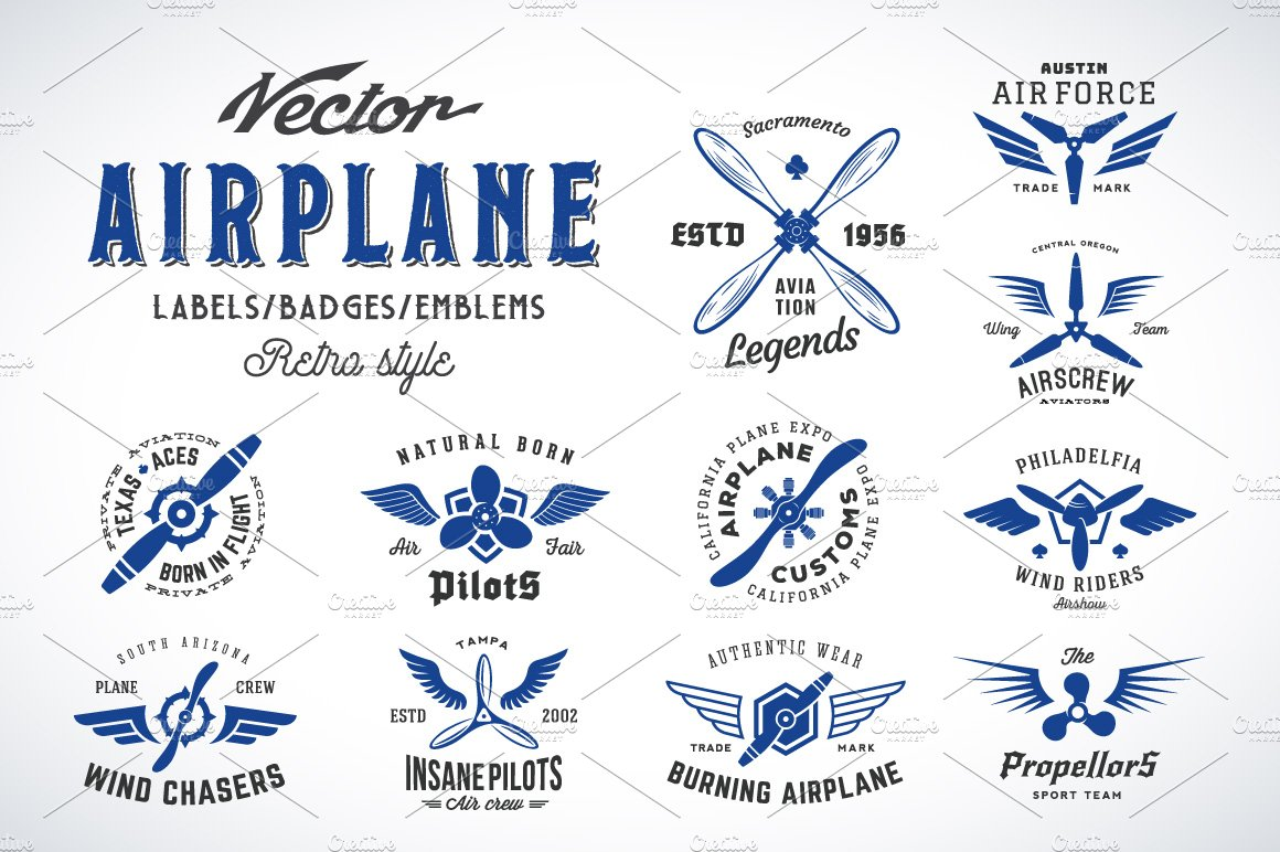 aviation_retro_logos_set_preview1- Vintage Aviation Lettering Template on aviation pencils, aviation logos, aviation architecture, aviation advertising, aviation stickers, aviation awards, aviation design, aviation uniforms, aviation books, aviation sketching, aviation clothing,