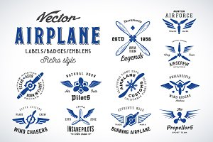 11 Vintage Airplane Logo Templates
