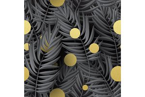 Seamless tropical jungle floral pattern with palm fronds. Vector illustration.