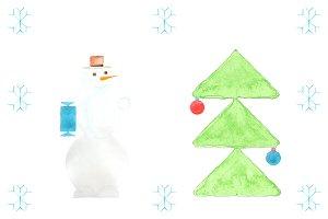 Snowman & Christmas Tree