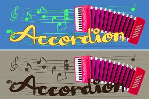♥ vector pink accordion