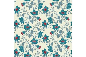 Vector vintage floral seamless blue flower