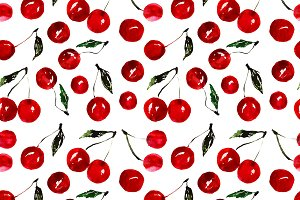 Very cherry watercolor pattern