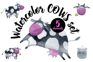 Watercolor Cows Set