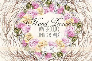 Watercolor Elements & Wreath