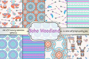 Boho woodland seamless pattern set