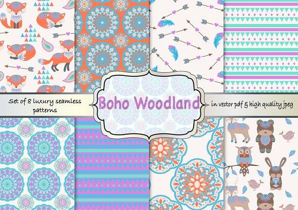 Boho woodland seamless pattern set