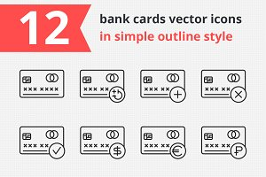 12 bank cards vector icons