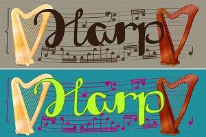 ♥ vector concert harp