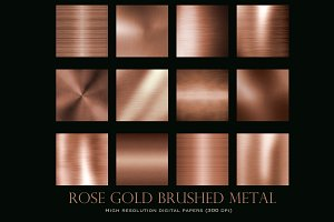 Rose gold brushed metal textures