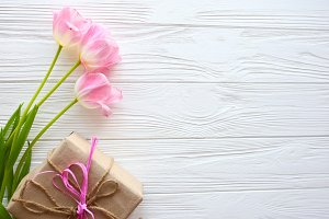 spring tulips and presents