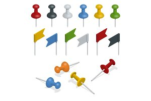 Isometric Set of push pins and flags in different colors on the white background. Thumbtacks