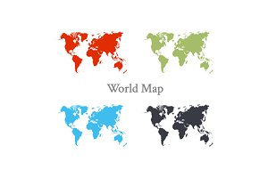 World map set in different color