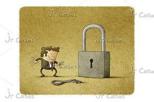 Businessman with a key and a padlock