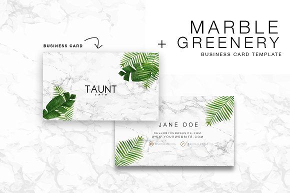 Marble Greenery Diy Business Card Cards