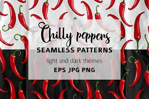 Seamless pattern with chilli peppers