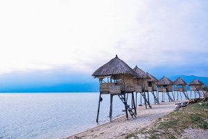 Wooden cabins near the coast