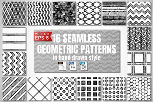 16 Seamless hand drawn patterns