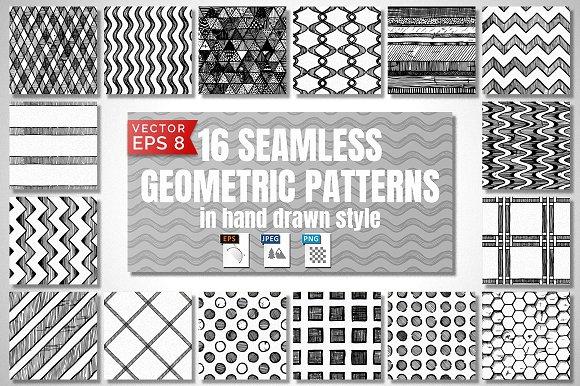 16 Seamless hand drawn patterns