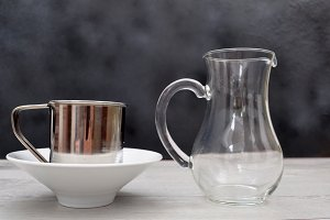 Glass jug and metal jug
