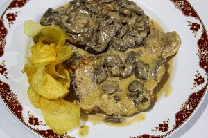 Meat with Champignon and Cream