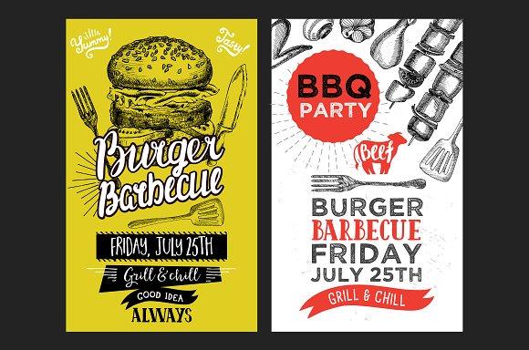 barbecue party invitations brochure templates creative market
