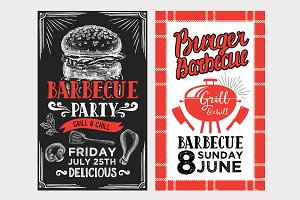 Barbecue menu templates, bbq party