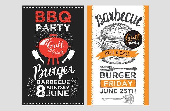barbecue party bbq invitations brochure templates creative market