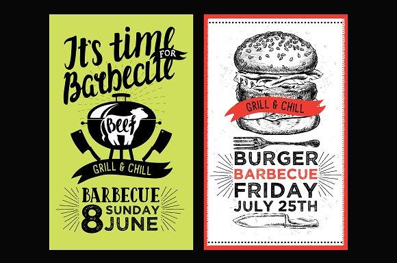 bbq invitations barbecue party brochure templates creative market