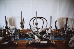 Decorated wedding vintage table