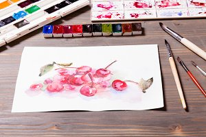 Watercolor painting cherries