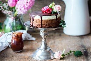 Three chocolates cake
