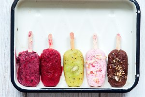 Assorted homemade popsicles