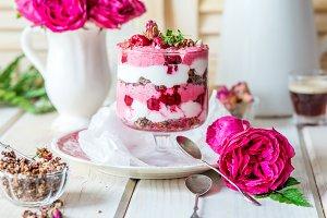 Raspberry granola parfait