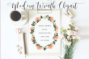 Modern hand drawn floral wreath