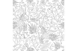Vector flowers seamless pattern