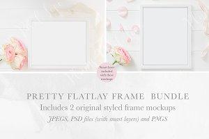 2 Floral Frame Flatlay Mockups